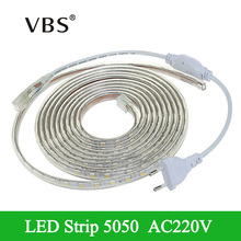 AC220V LED Strip Light Waterproof Silicone Tube led tape 1/2/3/4/5/6/7/8/9/10/12/15/20m led strip waterproof 60LEDs/m+EU Plug