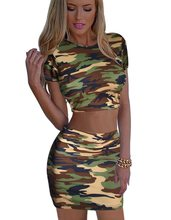 Camouflage Women's set short top and skirt lady mini shirt pencil skirts girl summer clothing party club sexy set