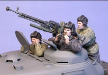 1/35 WW2 Soviet soldiers Soviet tank gunner 3people (including heavy machine guns) WWII Resin Model Kit figure Free Shipping