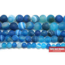 "Free Shipping 15"" Natural Stone Frost Grind Arenaceous Blue Stripe Agate Onyx Round Loose Beads 6 8 10 MM Pick Size SAB27"