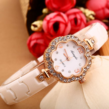 Flower shape alloy case,gold plating,diamond deco on case,copy ceramic band,Gerryda fashion lady woman quartz ceramic watches