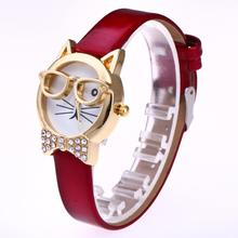 wrist watches for women Glasses and cats with diamonds woman watches reloj de mujer