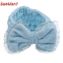 Amazign Hair Wrap Shower Headband Bowknot Hair Band for Washing Face Spa Make up