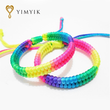 YimYik 5 pcs Designer Chinese Multilayer red string Multicolor line Hand knitting lover's Bracelets for girl's gifts jewelry(China)