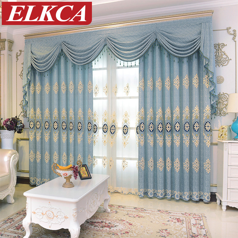 luxury european embroidered blue curtains for bedroom modern tulle curtains for living room blue sheer curtains