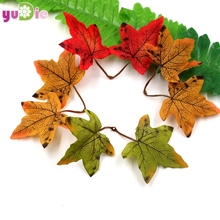 Hot 10pcs/lot Artificial Fibers Maple Leaves Multicolor False Mosaic for Scraping Wedding Party Decorative Scissors Crafts(China)
