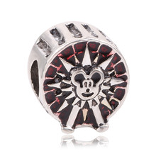 Ranqin Free Shipping 1pc Silver Plated Mickey Ferris wheel Bead Charms fit Pandora European pulseiras Charm Bracelets & Bangles
