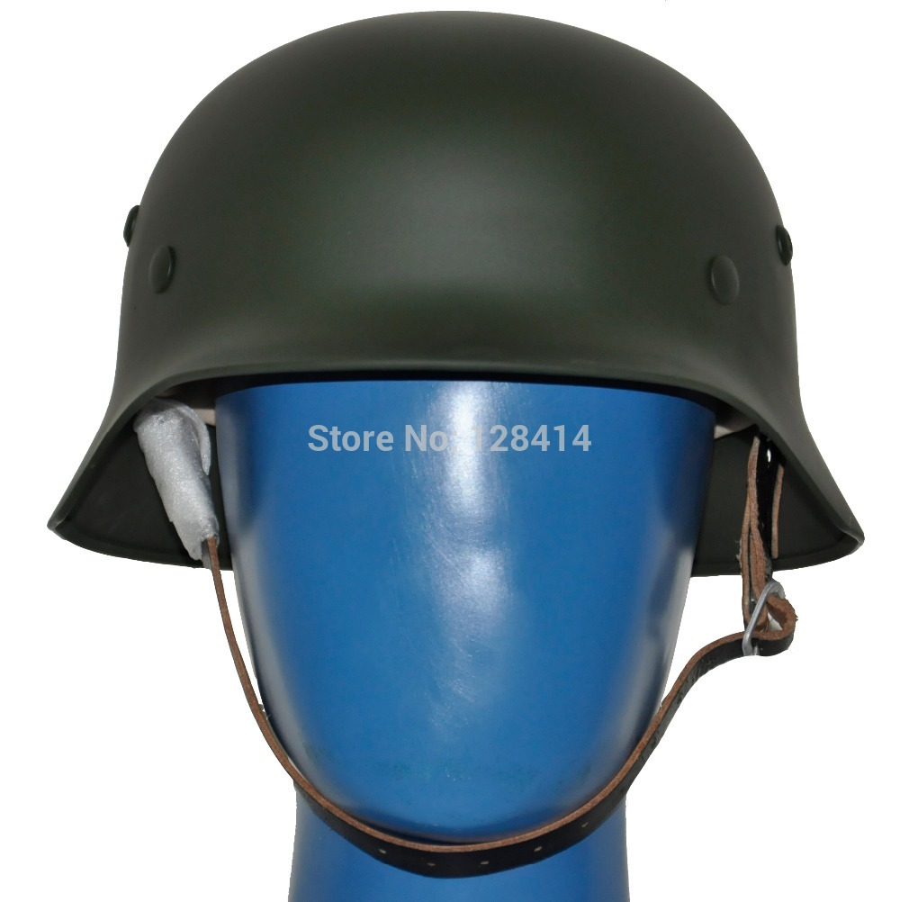 MILITECH Green WW2 German M35 Steel Helmet WW II M35 German helmet Motor Bike Safety Helmet Oliver Drab World War 2 Repro Helmet<br>