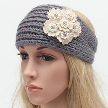 2016 Drop shipping new European hot sale winter knitting wool headband ladies handmade Warm Pearl diamond flower style Headwrap