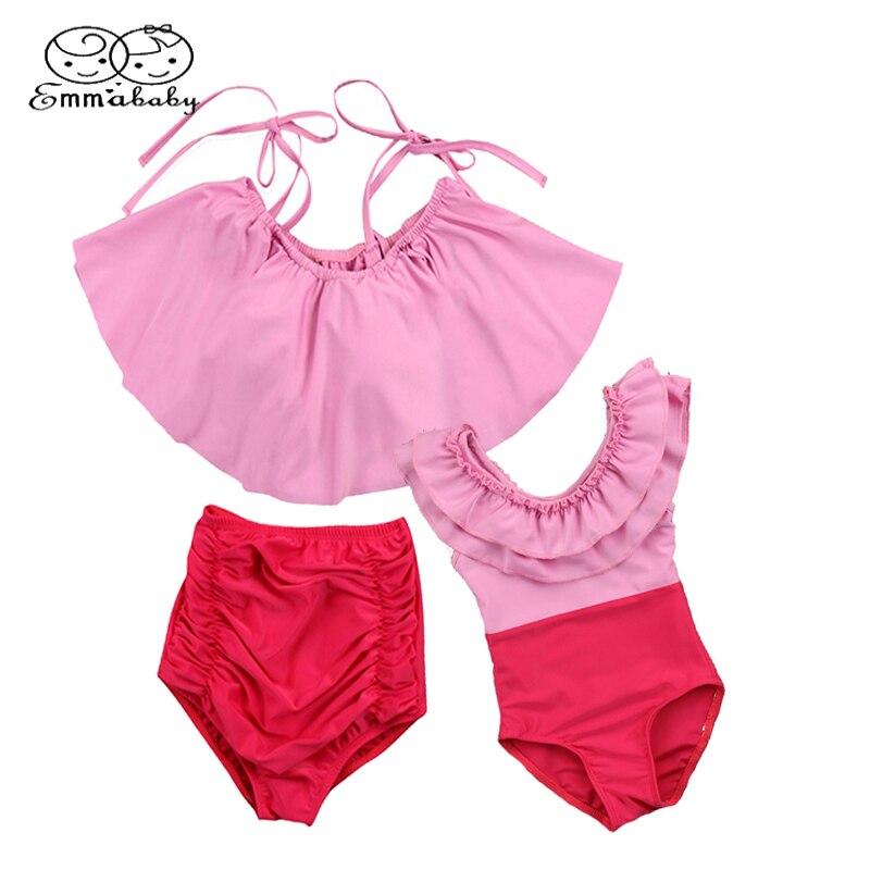 Emmababy Family Women Kids Baby Girls Romper Swimsuit Swimwear Mom Beachwear Ruffle Bikini Set