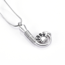 IJD9926 High Quality Stainless Steel Fish Hook Hold Dog Paw Print Memorial Neckalce For Ashes Loss Of Pet Cremation Urn Necklace(China)