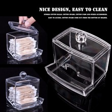 LemonBest Clear Acrylic Q-Tip Storage Holder Box Transparent Cotton Swabs Stick Cosmetic Makeup Organizer Case High Quality(China)