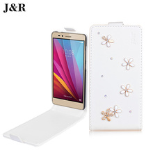 J&R Case For Fly FS501 Case Flip Leather Back Cover For Fly FS501 Nimbus 3 FS 501 Nimbus3 Bags&Bling Crystal Rhinestone Cases(China)