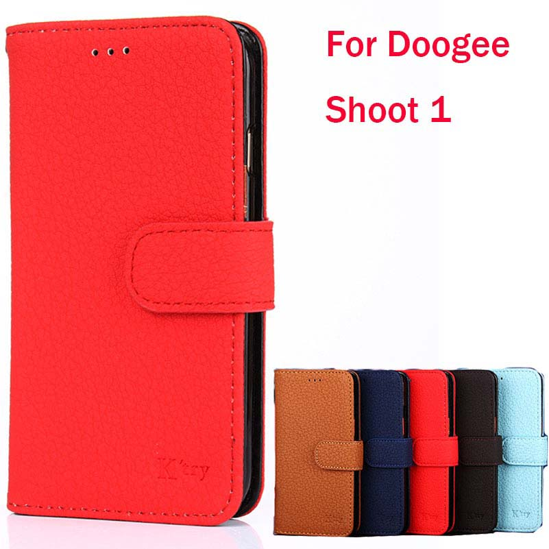 Doogee Shoot 1 K'Try Lichi Skin Wallet Leather Phone Case Soft Magnetic Luxury Elegant Business Cover Cases Card Pocket