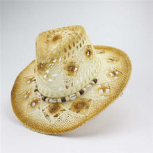 Summer Woven Caps Men'S And Women'S Western Style Cowboy Cowgirl Straw Hat Shell Straw Decoration One Size