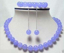 Jewelry 001414 Fashion 10mm Lavender round beads Necklace Bracelet Earrings Set AAA Grade(China)