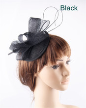 Black teardrop base sinamay top bow fascinators ostrich quill hats for women party church cocktail headwear headbands 17 Colors(China)