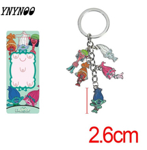 YNYNOO 5pcs/lot Movie Series Trolls Mini Pendant Model Figure Toy With Keychain KeyRing Great Gift For Kids(China)
