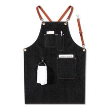 Avental denim cinta bib avental barista barista churrasco chef uniforme workwear myding