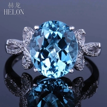 HELON Solid 14K White Gold 100% Genuine Swiss Blue Topaz & Natural Diamonds Engagement Wedding Gemstone Fine Ring Oval 10x12mm(China)