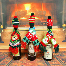 Santa Claus Wine Bottle Cover Clothes Set Christmas Tree decor Bottle Hat Cap Scarf Covering Xmas Party Table Decoration 881716(China)