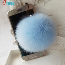 OTOKY Gussy Life Fashion Hot Wholesale Rabbit Fur Ball Key Chains Mobile Phone Plug Backpack Bags Decorations Dec622