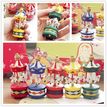 Newest Arrival Christmas Decorations on Tree 6 pcs/lot Hanging Christmas Tree Ornaments Beautiful Wooden Carousel Random Color