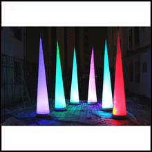Free shipment 3m height color changing LED inflatable pillar/horn/cone/ball