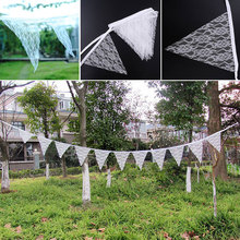 Hot sell 2.9M White Lace Hessian Burlap Banner Rustic Wedding Bunting Living Home Decorations Decor