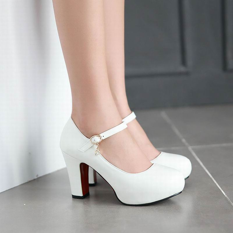 New Womens High Heels Pumps Sexy Bride Party Thick Heel Round Toe White High Heel Shoes for office lady Women<br><br>Aliexpress