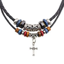 Cross Necklace - New Arrival Europe And The United States Double Root Beaded Cross Necklace Leather Rope Braided #1810042