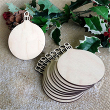 New 10Pcs/lot Tag Shapes Art Craft Ornaments Hanging Christmas Tree Blank Wooden Round Bauble Decorations Gift DIY Home Decors