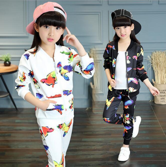 New Arrival Childern Clothing Sets Print Colorful Animal Costume For Girls Conjunto Infantil Menina V-neck Boutique Kids Clothes<br><br>Aliexpress