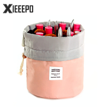 Barrel Shaped Travel Cosmetic Bag Nylon High Capacity Drawstring Make Up Bags Makeup Case Necessaries Organizer Storage Wash Bag(China)
