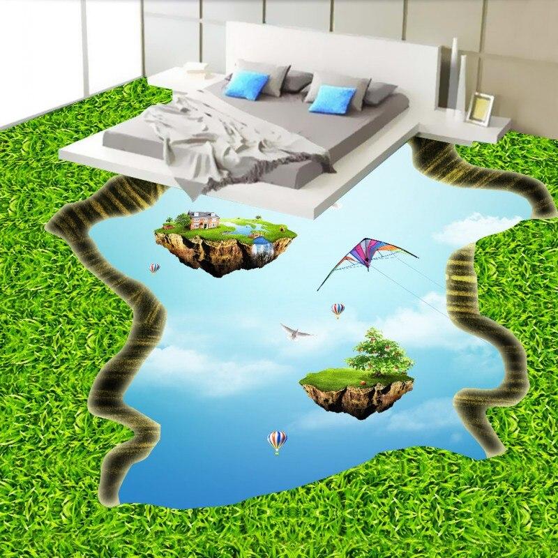 Free shipping 3D green empty island floor custom flooring moisture proof non-slip bathroom living room 3d wallpaper mural<br><br>Aliexpress