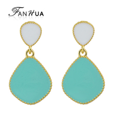 FANHUA  Ear Piercing Blue Enamel Candy Color Drop Designer Earrings New Fashion Brincos Women Pendientes Mujer