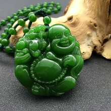 2017 New Green Jades Pendant 3D Handmade Carved Laughing Maitreya Buddha Women Men's Amulet Jewelry Pendants+Beads Necklace