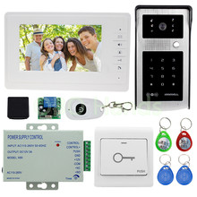 Hot sale Wired 7'' Color Video Door Phone Intercom System With RFID Access Camera Video Doorbell +12V Power Supply Free Shipping