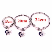 Dallas Cowboys 15CM /20cm/24cm (pick your size) Football Team Logo swirl heart sport charm with Wheat link chain bracelets(China)