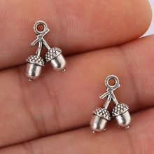 Cute Free Shipping 11pcs 14*10MM antique silver Alloy Cherry Fruits charms Pendant Jewelry Findings,Fit European Bracelet Making