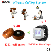 Ordering Table System Calling System 3 Watch+40 Table Button Electronic Product 433.92MHZ Restaurant Service Pager Equipment