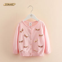 Sequins Dragonfly Girls Coat New Spring 2017 Casual Long Sleeve Baby Cardigan Jackets Kids Outerwear & Coats Baby Girl Clothes