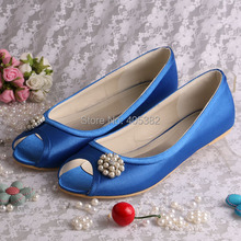 Custom Made Ladies Diamond Flat Ballerina Walking Shoes for Prom Party Blue Satin DropShipping