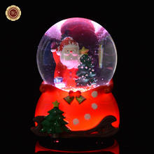 WR Snow Globe Christmas Gift Merry Christmas with LED Light Music Box Colorful Crystal Ball Happy New Year Gift Free Shipping