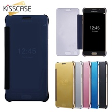 KISSCASE Hard PC Case For Samsung A5 2016 Cover Luxury Mirror Flip Cover For Samsung Galaxy A5 2016 Windows Ultra Thin Funda Bag