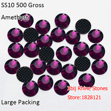 China Factory Direct Garment Accessories Big Packing 500 Gross 3mm SS10 Amethyst Glass Strass DMC Hotfix Flatback Rhinestones(China)