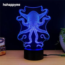 Octopus Neon Light Sign 7 Colors Changing LED Glitter Acrylic Sheet Plaques Desktop Lamp Decoration Home Decor
