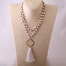 Fashion Bead Cord Weaving Tassel Necklace Bohemian Jewelry long with gold flower charm Necklace white Natural Stone Halsband(China)