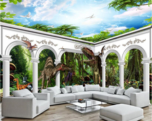beibehang Senior creative fashion wallpaper dinosaur forest big column arches full house background papel de parede 3d wallpaper(China)
