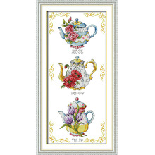 Joy Sunday Teapot Flower Coffee Shop Decor Painting Printed On Fabric Chinese Cross Stitch Kits Needlework Embroidery Sets J255